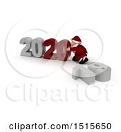 Clipart Of A 3d New Year 2020 With Santa Claus Royalty Free Illustration