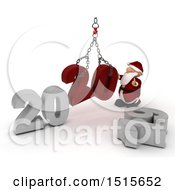 Clipart Of A 3d New Year 2020 With Santa Claus Using A Hoist Royalty Free Illustration