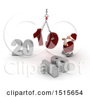 Clipart Of A 3d New Year 2019 With Santa Claus Using A Hoist Royalty Free Illustration