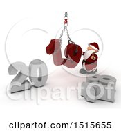 3d New Year 2019 With Santa Claus Using A Hoist