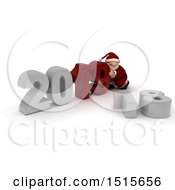 Clipart Of A 3d New Year 2019 With Santa Claus Royalty Free Illustration