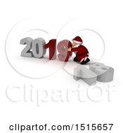 3d New Year 2019 With Santa Claus