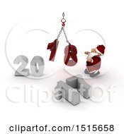 3d New Year 2018 With Santa Claus Using A Hoist