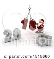 Clipart Of A 3d New Year 2018 With Santa Claus Using A Hoist Royalty Free Illustration