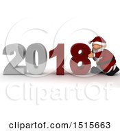 Clipart Of A 3d New Year 2018 With Santa Claus Royalty Free Illustration