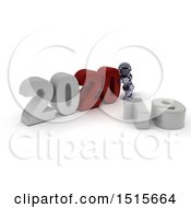 Clipart Of A 3d New Year 2020 With A Robot Royalty Free Illustration