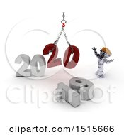 Clipart Of A 3d New Year 2020 With A Robot Using A Hoist Royalty Free Illustration
