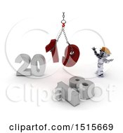 Clipart Of A 3d New Year 2019 With A Robot Using A Hoist Royalty Free Illustration