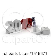 Clipart Of A 3d New Year 2019 With A Robot Royalty Free Illustration