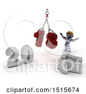 Clipart Of A 3d New Year 2018 With A Robot Using A Hoist Royalty Free Illustration