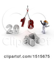 3d New Year 2018 With A Robot Using A Hoist