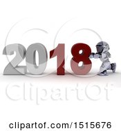 Clipart Of A 3d New Year 2018 With A Robot Royalty Free Illustration