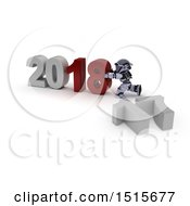 3d New Year 2018 With A Robot