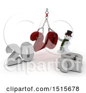Clipart Of A 3d New Year 2020 With A Snowman Using A Hoist Royalty Free Illustration