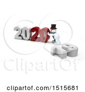 Clipart Of A 3d New Year 2020 With A Snowman Royalty Free Illustration