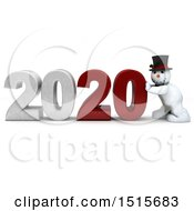 3d New Year 2020 With A Snowman