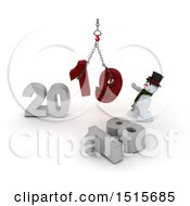 Clipart Of A 3d New Year 2019 With A Snowman Using A Hoist Royalty Free Illustration