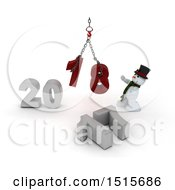3d New Year 2018 With A Snowman Using A Hoist