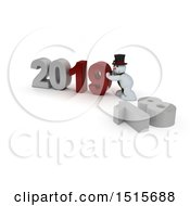 3d New Year 2019 With A Snowman