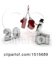 Clipart Of A 3d New Year 2018 With A Snowman Using A Hoist Royalty Free Illustration