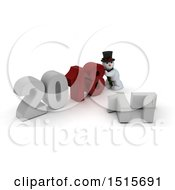 Clipart Of A 3d New Year 2018 With A Snowman Royalty Free Illustration