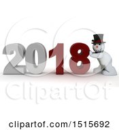 3d New Year 2018 With A Snowman
