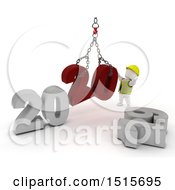 Clipart Of A 3d New Year 2020 With A White Man Using A Hoist Royalty Free Illustration