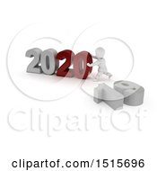 Clipart Of A 3d New Year 2020 With A White Man Royalty Free Illustration