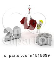 Clipart Of A 3d New Year 2019 With A White Man Using A Hoist Royalty Free Illustration