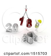 3d New Year 2018 With A White Construction Worker Man Using A Hoist