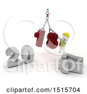 Clipart Of A 3d New Year 2018 With A White Construction Worker Man Using A Hoist Royalty Free Illustration