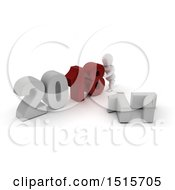 Clipart Of A 3d New Year 2018 With A White Man Royalty Free Illustration