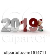 Clipart Of A 3d New Year 2019 With An Elf Royalty Free Illustration