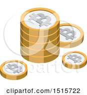 Clipart Of A 3d Isometric Bitcoin Financial Icon Royalty Free Vector Illustration by beboy