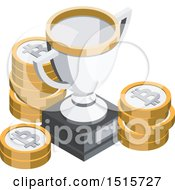 Clipart Of A 3d Isometric Bitcoin And Trophy Financial Icon Royalty Free Vector Illustration by beboy