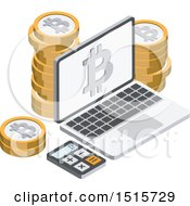Clipart Of A 3d Isometric Bitcoin And Laptop Financial Icon Royalty Free Vector Illustration by beboy