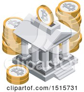 Clipart Of A 3d Isometric Bitcoin Bank Financial Icon Royalty Free Vector Illustration