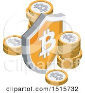 Clipart Of A 3d Isometric Bitcoin And Shield Financial Icon Royalty Free Vector Illustration