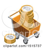 Clipart Of A 3d Isometric Bitcoin And Shopping Cart Financial Icon Royalty Free Vector Illustration by beboy