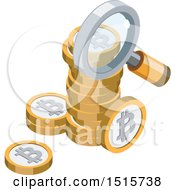 Clipart Of A 3d Isometric Bitcoin And Magnifying Glass Financial Icon Royalty Free Vector Illustration by beboy