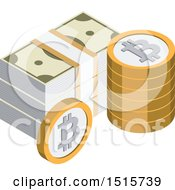 Clipart Of A 3d Isometric Bitcoin And Cash Financial Icon Royalty Free Vector Illustration by beboy