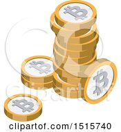 Clipart Of A 3d Isometric Bitcoin Financial Icon Royalty Free Vector Illustration