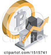 Poster, Art Print Of 3d Isometric Bitcoin Bar Graph Financial Icon