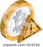 Clipart Of A 3d Isometric Bitcoin Warning Financial Icon Royalty Free Vector Illustration by beboy