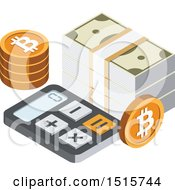 Clipart Of A 3d Isometric Bitcoin And Calculator Financial Icon Royalty Free Vector Illustration by beboy