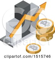 December 15th, 2017: Clipart Of A 3d Isometric Bitcoin Bar Graph Financial Icon Royalty Free Vector Illustration by beboy
