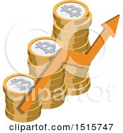 Clipart Of A 3d Isometric Bitcoin And Arrow Financial Icon Royalty Free Vector Illustration by beboy