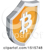 Clipart Of A 3d Isometric Bitcoin Shield Financial Icon Royalty Free Vector Illustration by beboy