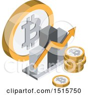 Clipart Of A 3d Isometric Bitcoin Bar Graph Financial Icon Royalty Free Vector Illustration by beboy