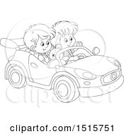 Clipart Of A Black And White Boy And Girl Playing In A Car Royalty Free Vector Illustration